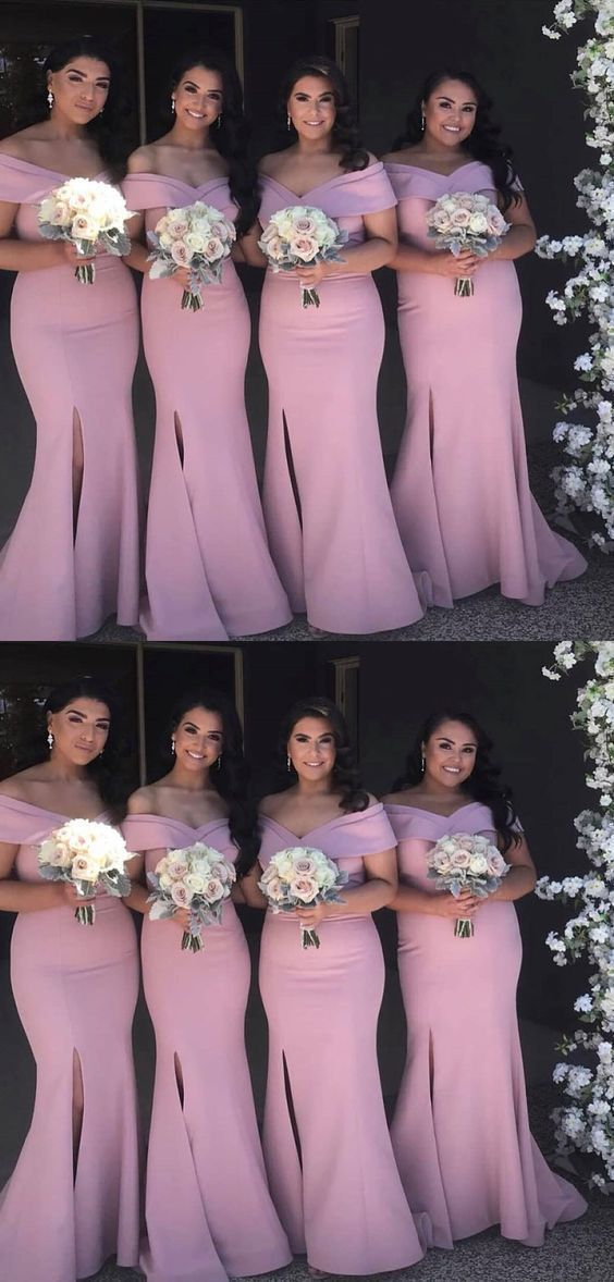 Mermaid Off-the-Shoulder Pink Satin Bridesmaid Dress with Split