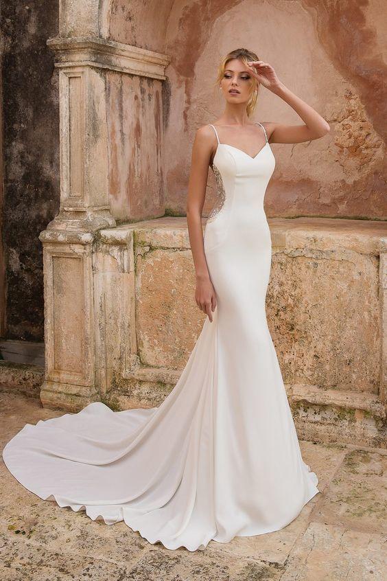 2019 straps white mermaid wedding dress, formal bridal gown
