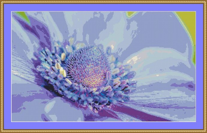 Anemone Cross Stitch Pattern - Instant Digital Downloadable Pattern