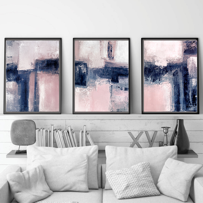 Pink & Navy Blue Triptych Wall Art, Set of 3 Prints, abstract large, Digital