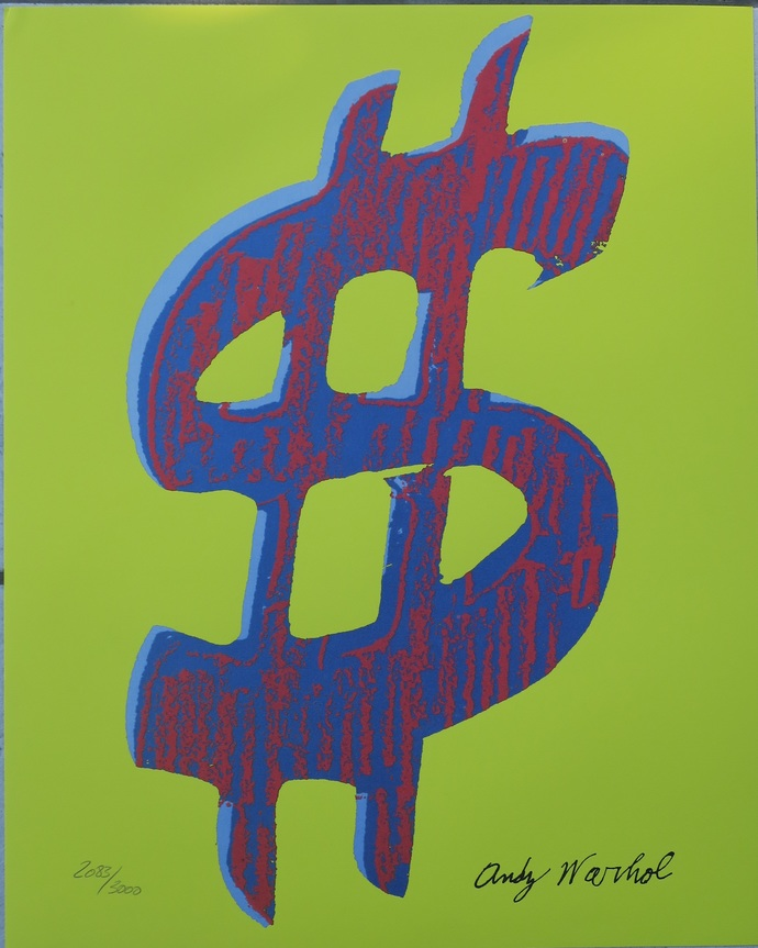 Andy Warhol lithograph Dollar Sign signed limited edition authenticated print