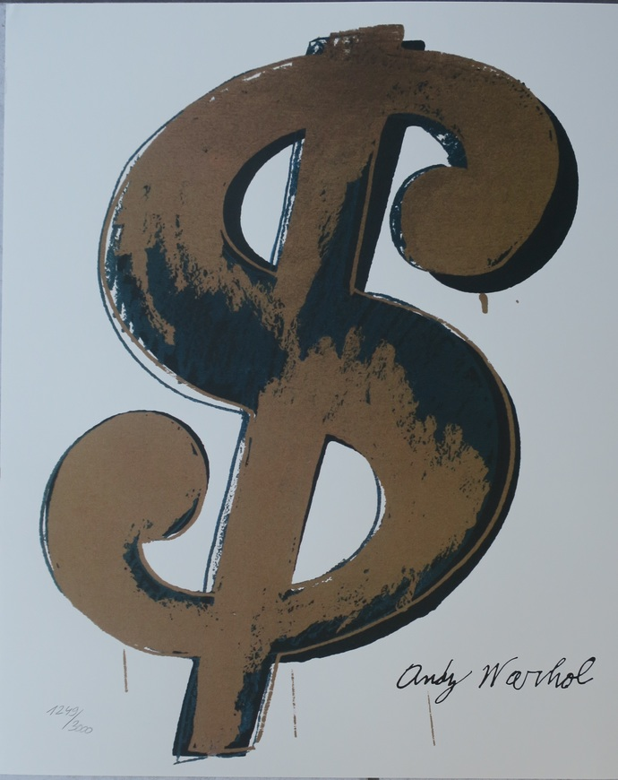 Andy Warhol lithograph Dollar Sign limited edition authenticated print white
