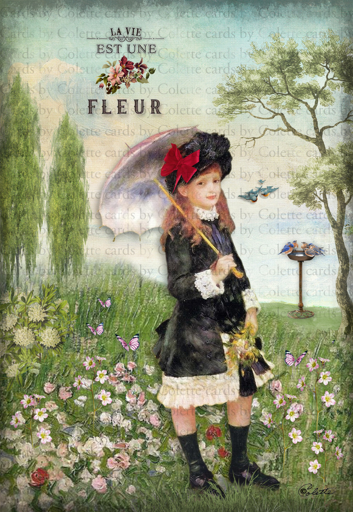 Girl in the Flower Garden Digital Collage Greeting Card2282