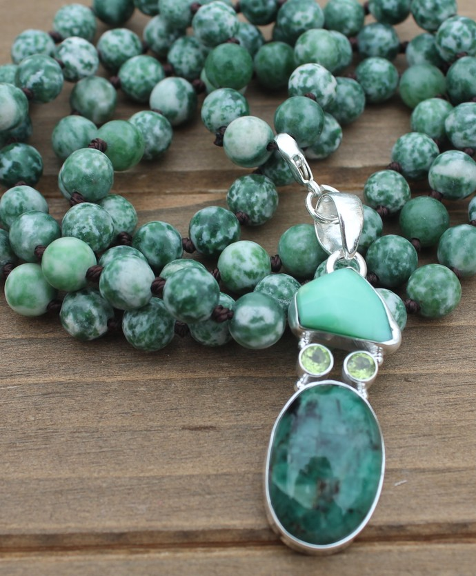 Long Beaded Necklace with Pendant Opal Chrysoprase Peridot Hand Knot Jewelry by