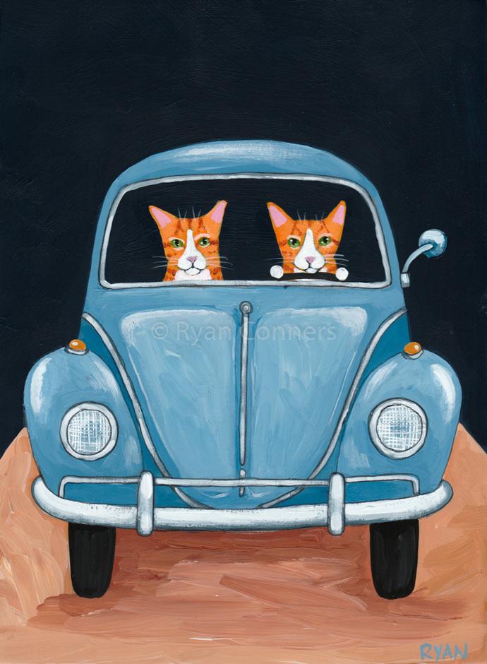 Ginger Kitties on a Road Trip Original Cat Folk Art Painting