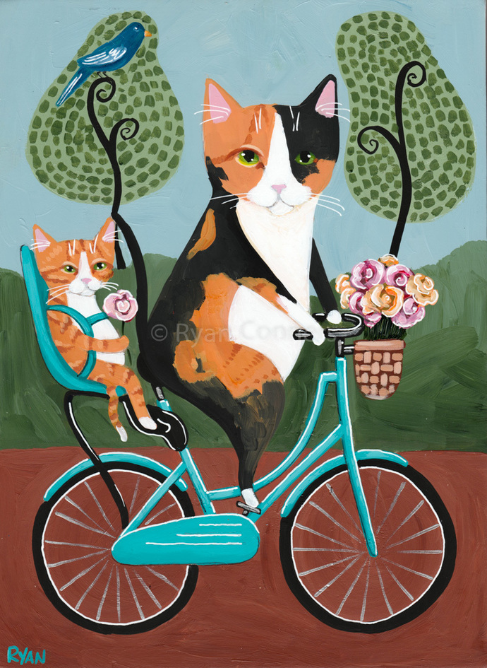 Mothers Day Bicycle Ride Original Cat Folk Art Painting