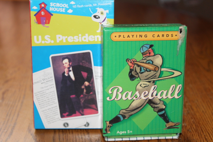 Baseball Playing cards - an action game & School House - US Presidents flash