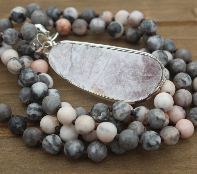 Long Beaded Necklace with pendant Jasper & Lepidolite Bohemian Glam Pink & Gray