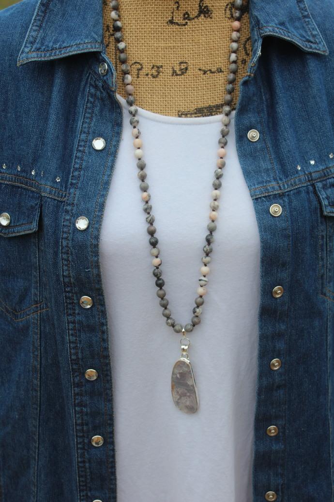 Long Beaded Necklace with pendant Jasper & Lepidolite Bohemian Glam Pink & Gray