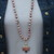 Healing Inspiration Long beaded Necklace with Opal Pendant Hand Knot by