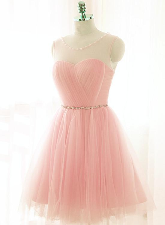 Cute Pink Tulle Round Neckline Short Party Dress 2019, Charming Formal Dress