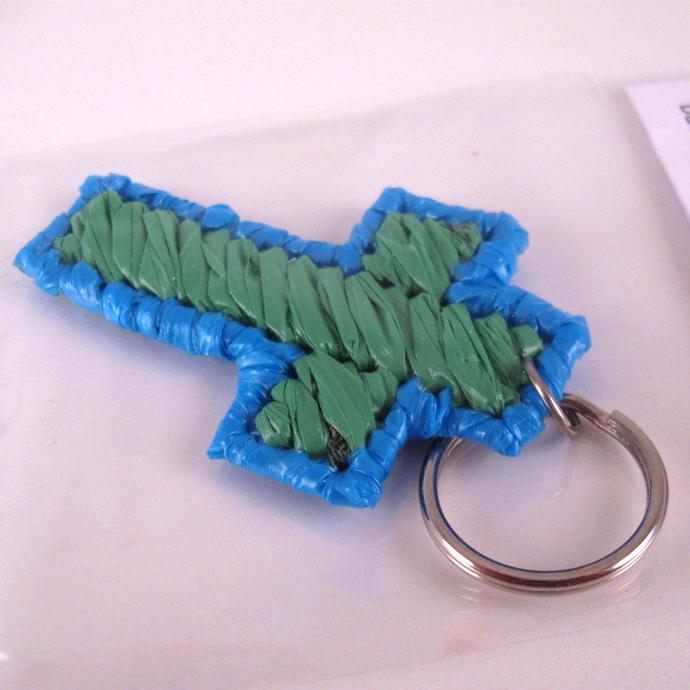 Blue and Green Plarn Cross Key Ring