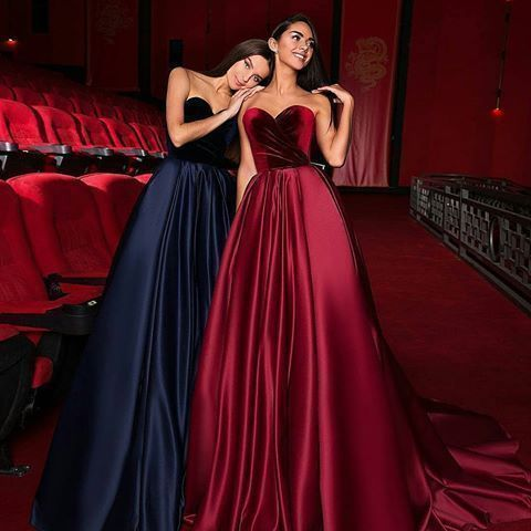 Sweetheart prom dress A-Line Prom Dresses Satin Evening dress Formal Gowns