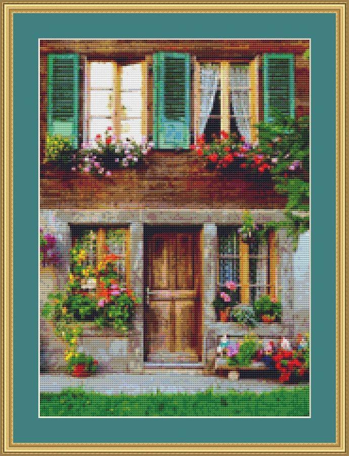 Sweet Cottage Cross Stitch Pattern - Instant Digital Downloadable Pattern