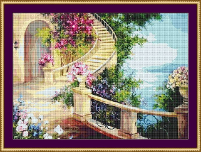 The Garden Staircase Cross Stitch Pattern - Instant Digital Downloadable Pattern