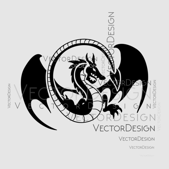 Dragon v3 Graphics SVG Dxf EPS Png Cdr Ai Pdf Vector Art Clipart instant