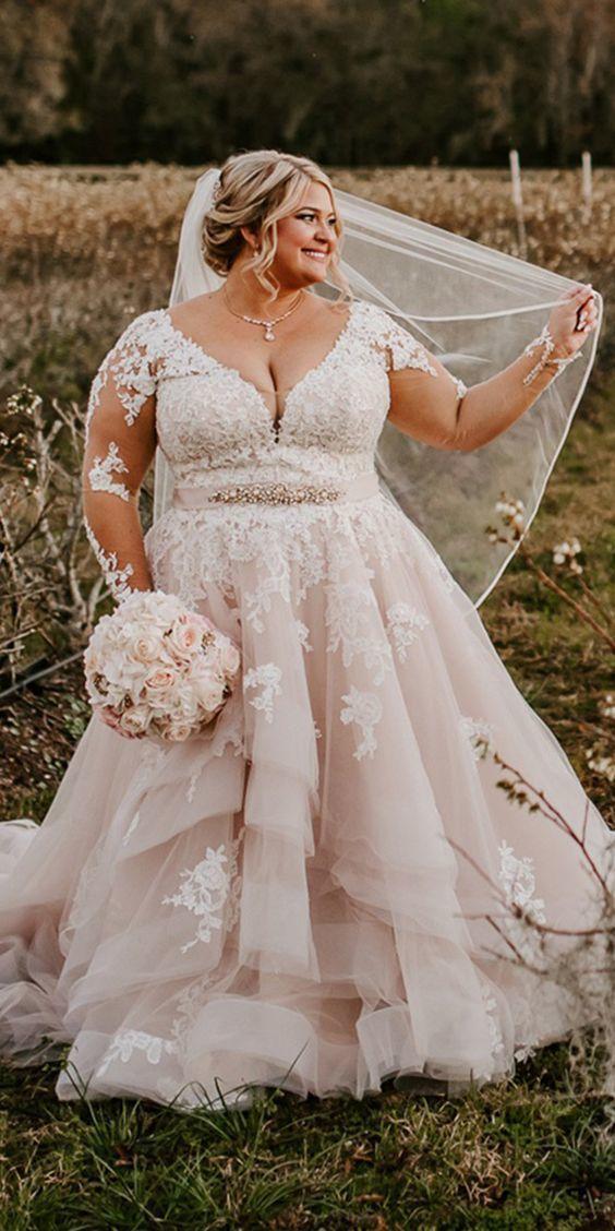 Long Sleeve Plus Size Wedding Dress,Blush by MisDaisyStyle on Zibbet