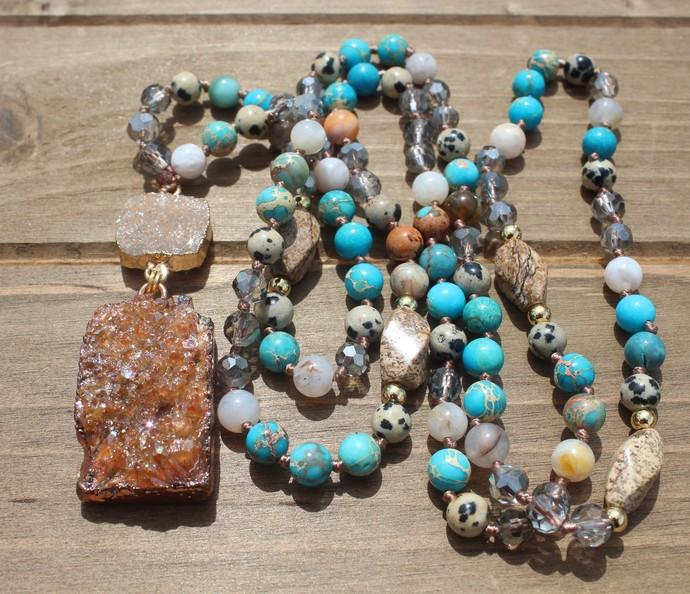 Long Beaded Necklace with Druzy pendant Hand Knot Blue & Brown Jewelry gifts by