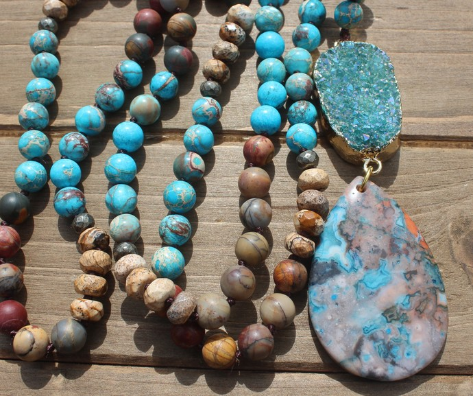 Long Beaded necklace with Pendant Boho blue Druzy Hand knot Bohemian Jewelry