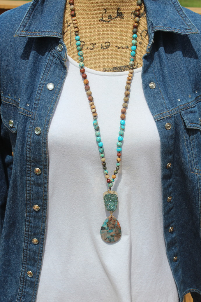 Long Beaded necklace with Pendant Boho blue Druzy Hand knot Bohemian Jewelry