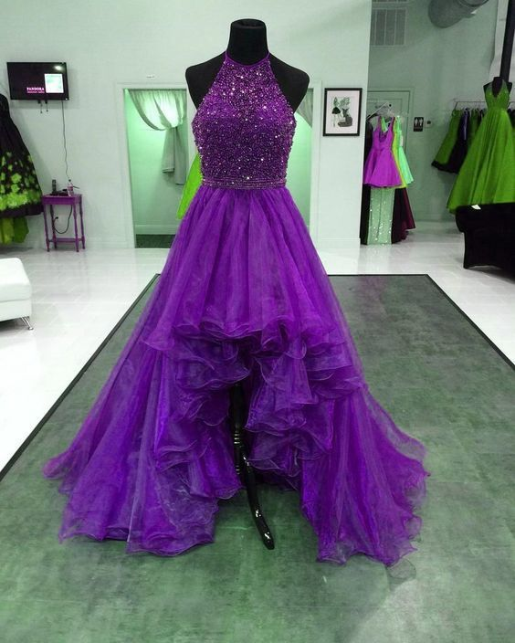 Purple Prom Dress,Halter Prom Gown,Organza Prom Dress,High/Low Prom Gown 9867