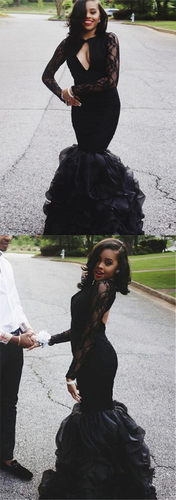 Fabulous Beautiful Black Mermaid Prom Dress Sexy Long Sleeve Prom Dress