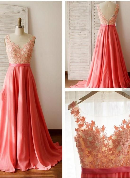 Beautiful Chiffon Lace Applique Prom Dress 2019, Charming Junior Prom Dress