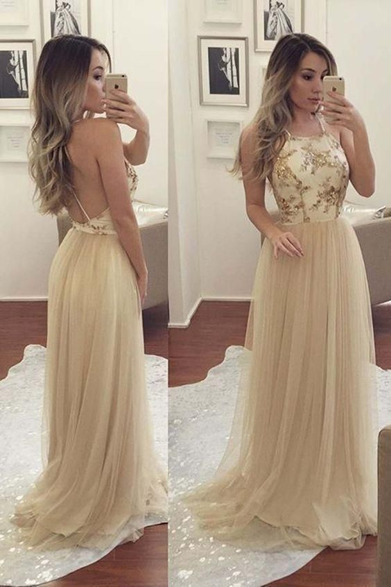 Sexy Backless A-Line Halter Sweep Train Criss-Cross Straps Tulle Prom Dress