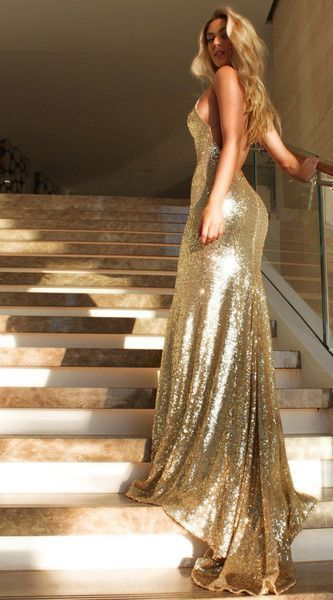 Gold Prom Dress,Halter Backless Evening Prom Dress,Sexy Graduation Dress With