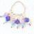 Knitting Stitch Markers, silver color ring with lavender and navy focal beads,