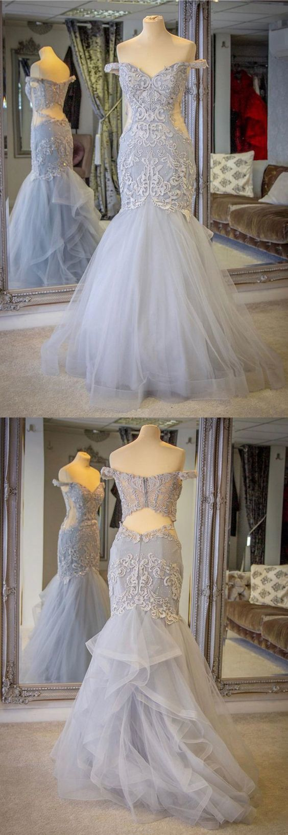 Custom Made Tulle Grey Mermaid Evening Dress, Formal Appliques Prom Dresses,