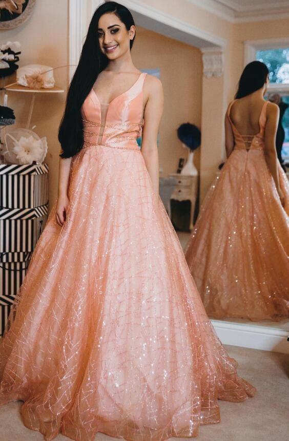 d931a286142 Sparkly Glitter A-line Pink Long Prom Dress by ModelDressy on Zibbet
