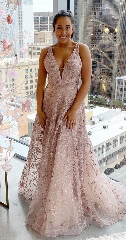 Gorgeous A-line Pink Long Prom Dress Graduation Dress Customized Formal Dress