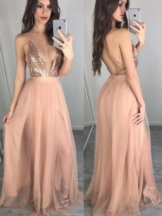 Sparkle Sequin Top Deep V-Neck Backless Spaghetti Strap Tulle Long Evening Prom