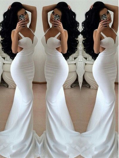 White Sheath Prom Dress