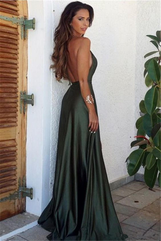 Olive Green Sexy High Slit Long Evening Party Dresses Women Prom Formal Gown