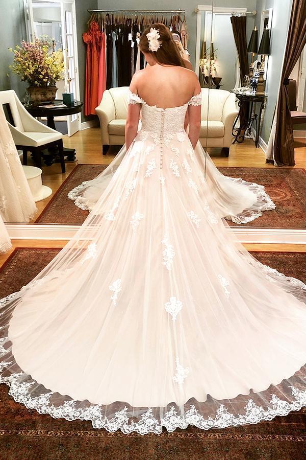 Charming Off the Shoulder Appliques Tulle Lace up Wedding Dresses Vestido de