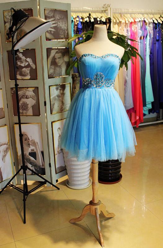 Beautiful Tulle Short Knee Length Beaded Homecoming Dress 2019, Blue Formal