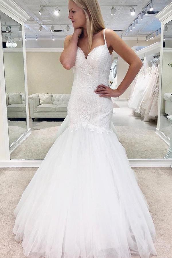Vestido De Novia Tulle White Appliques Mermaid Wedding Dress with Straps, Formal