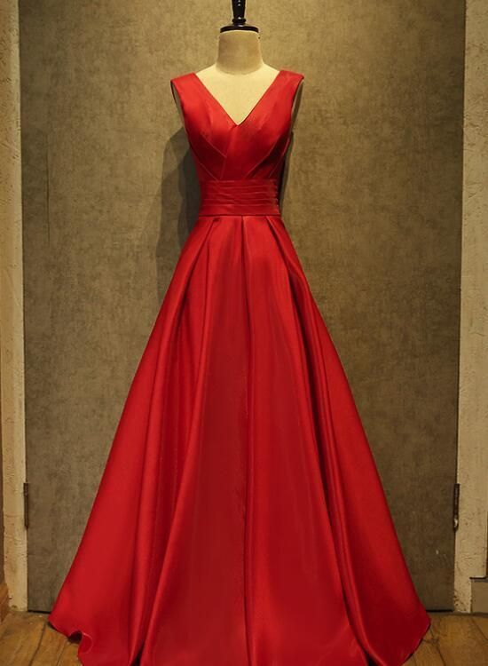 Red Satin Floor Length Women Formal Dress, Red V-neckline Prom Dress, Red Party