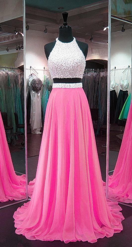 Pink Prom Dresses,Chiffon Prom Gowns,Two Piece Prom Dress,2 Piece Prom Dress
