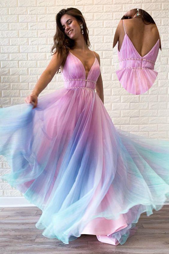 V-Back Beading Multi-Colored Long Prom Dress