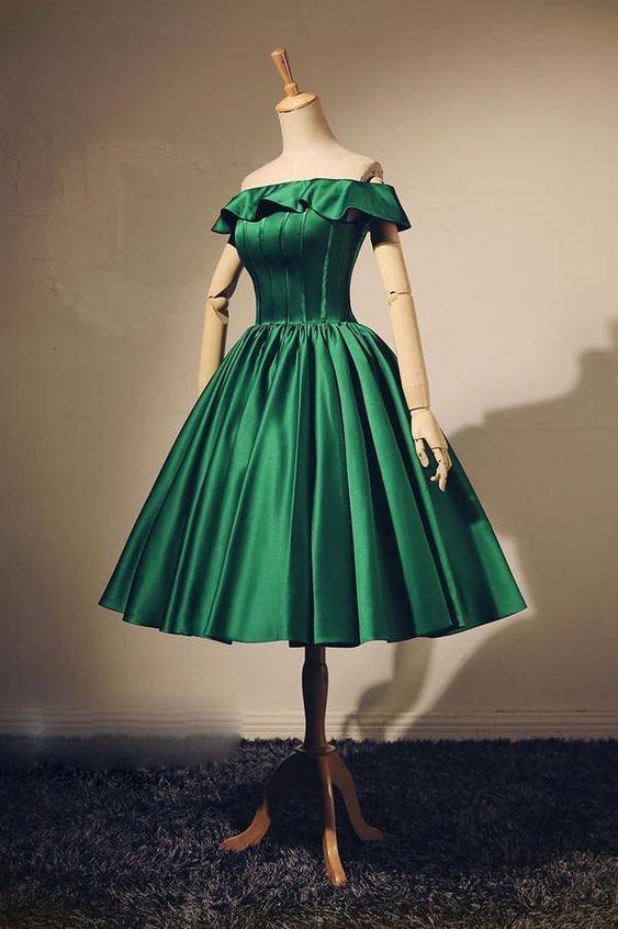 Simple green short prom dress, green evening dress