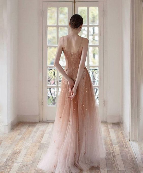 Unique champagne tulle long prom dress, tulle evening dress