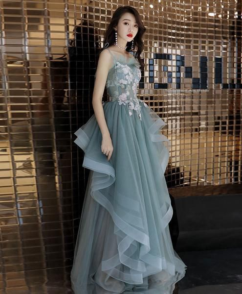 Green tulle lace long prom dress, green tulle lace evening dress