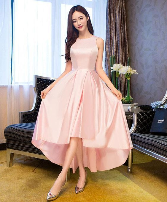 Simple tea length prom dress, pink satin dress, homecoming dress