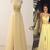 A-line Prom Dresses,Applique Prom Dresses,Split Prom Dresses,Yellow Prom