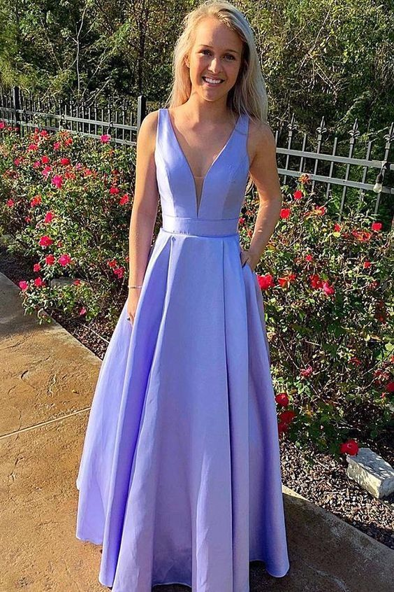 Simple Lavnder Satin Long Prom Dress