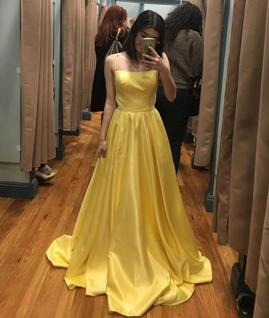 Simple Yellow A Line Spaghetti Straps Satin Long Prom Dress, Yellow Formal
