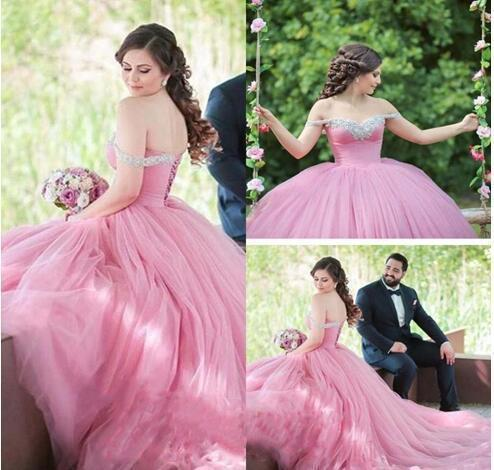 Coral Quinceanera Dresses Sexy Off The Shoulder Tulle Prom Dresses Elegant